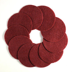"2 1/2"" Deep Red NON Adhesive Felt Circles 10 Pack"