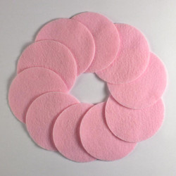 "2 1/2"" Lite Pink NON Adhesive Felt Circles 10 Pack"