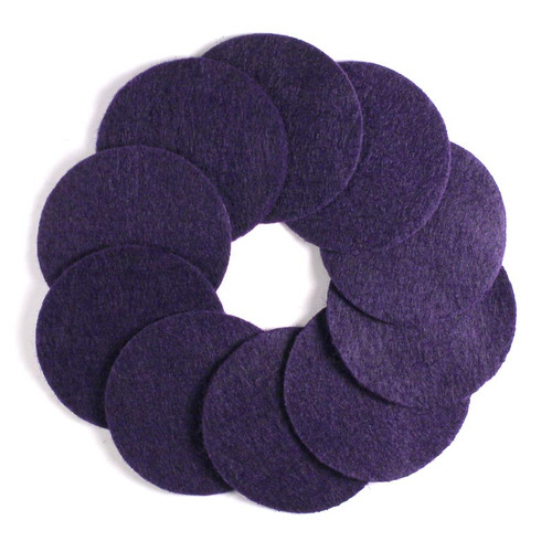 "2 1/2"" Purple NON Adhesive Felt Circles 10 Pack"