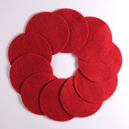 "2 1/2"" Red NON Adhesive Felt Circles 10 Pack"