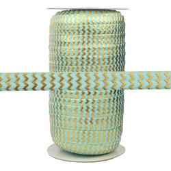 "Aqua with Gold Metallic Chevron 5/8"" Fold Over Elastic 100yd"