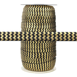 "Black with Gold Metallic Chevron 5/8"" Fold Over Elastic 100yd"