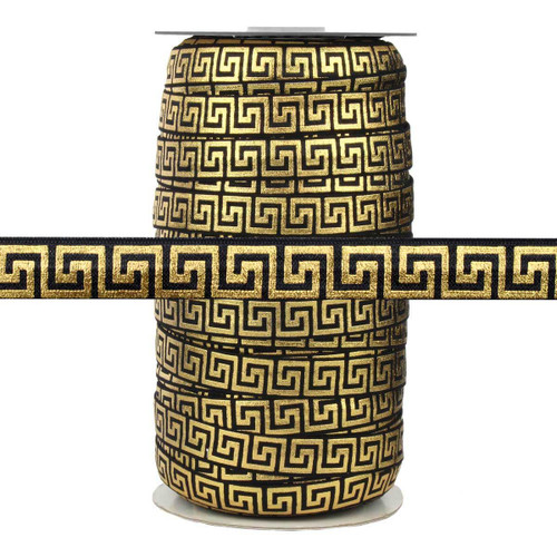"Black with Gold Metallic Maze 5/8"" Fold Over Elastic 100yd"