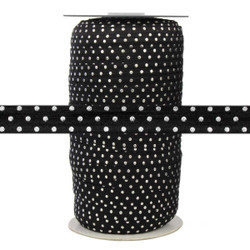 "Black with Silver Metallic Dots 5/8"" Fold Over Elastic 100yd"