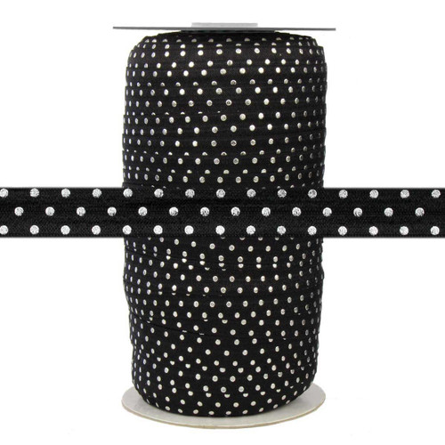 """Black with Silver Metallic Dots 5/8"""" Fold Over Elastic 100yd"""