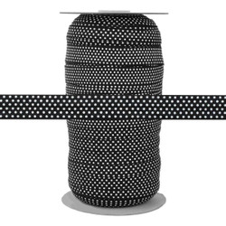 "Black with Small White Polka Dots 5/8"" Fold Over Elastic 100yd"