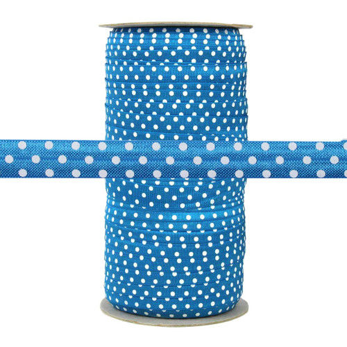 "Blue with White Polka Dots 5/8"" Fold Over Elastic 100yd"