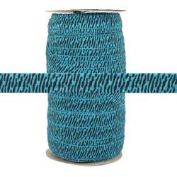 "Blue Zebra Print 5/8"" Fold Over Elastic 100yd"