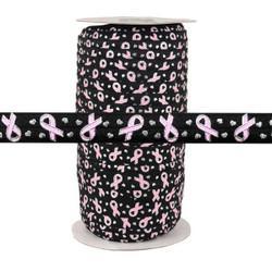 "Breast Cancer Ribbon on Black 5/8"" Fold Over Elastic 100yd"