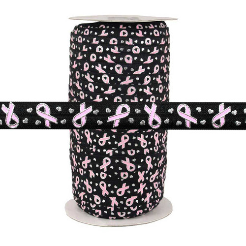 "Breast Cancer Ribbon on Black 5/8"" Fold Over Elastic 100yd"