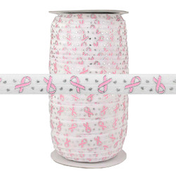 "Breast Cancer Ribbon on White 5/8"" Fold Over Elastic 100yd"