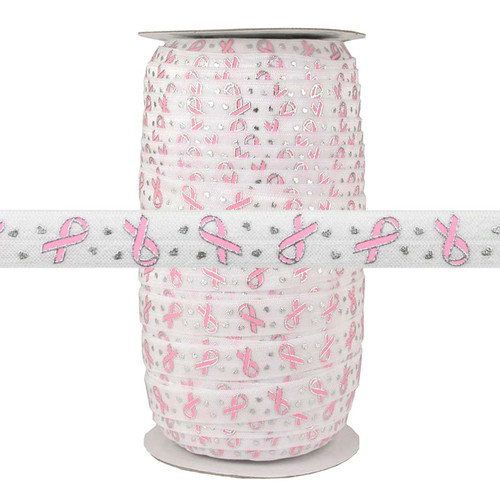"""Breast Cancer Ribbon on White 5/8"""" Fold Over Elastic 100yd"""