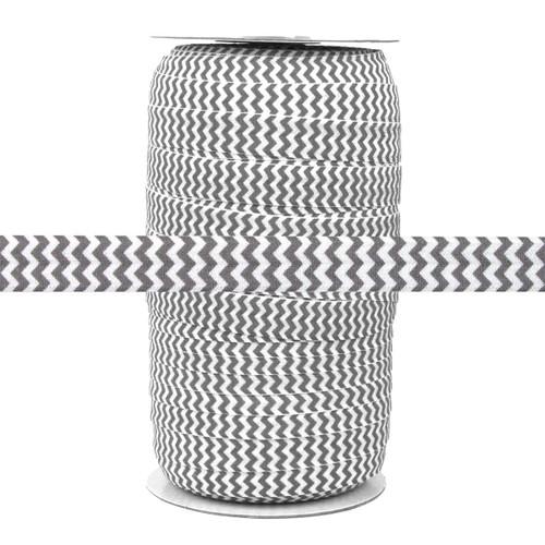 Gray Chevron on White Fold Over Elastic 100yd