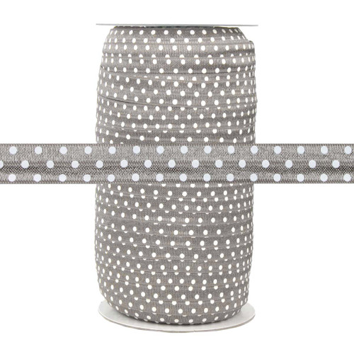 Gray with White Polka Dots Fold Over Elastic 100yd