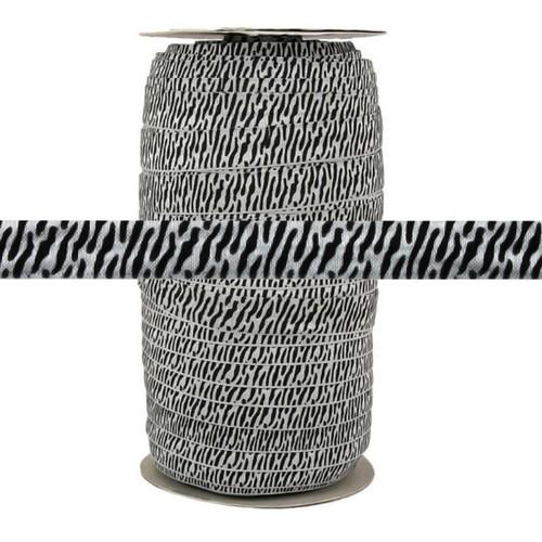 "Gray Zebra Print 5/8"" Fold Over Elastic 100yd"