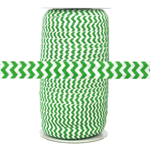 """Green and White Chevron Print 5/8"""" Fold Over Elastic 100yd"""