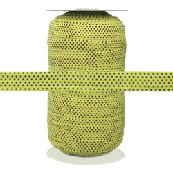 "Green with Brown Polka Dots 5/8"" Fold Over Elastic 100yd"