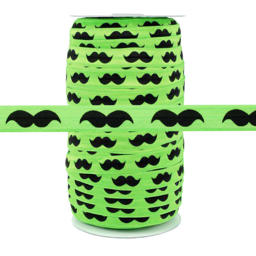 "Black Mustache on Green 5/8"" Fold Over Elastic 100yd"