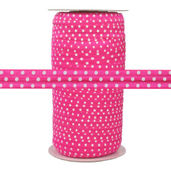Hot Pink with White Polka Dots Fold Over Elastic 100yd