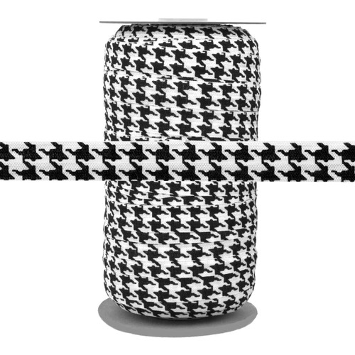 Houndstooth Printed Fold Over Elastic 100yd