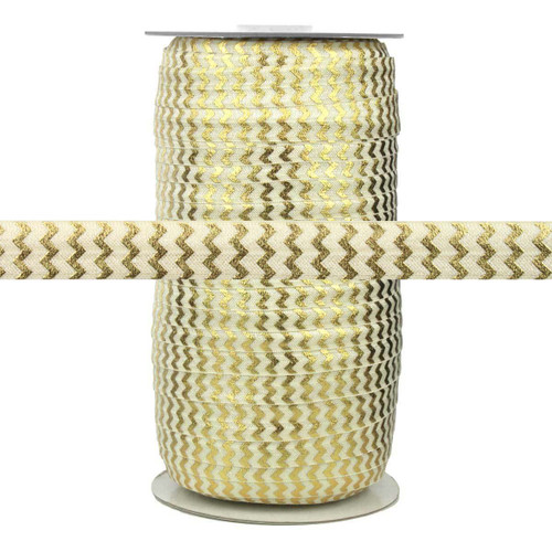 """Ivory with Gold Metallic Chevron 5/8"""" Fold Over Elastic 100yd"""