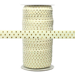 Ivory with Gold Metallic Dots Fold Over Elastic 100yd