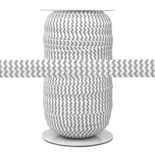 Light Gray Chevron on White Fold Over Elastic 100yd