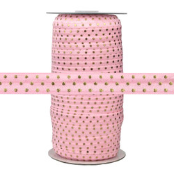 Light Pink with Gold Metallic Dots Fold Over Elastic 100yd