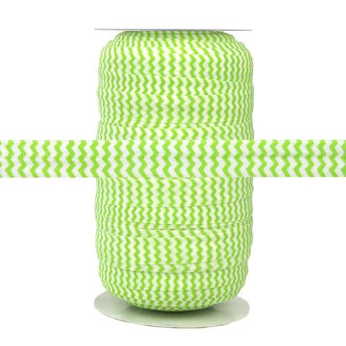 Lime Chevron on White Fold Over Elastic 100yd