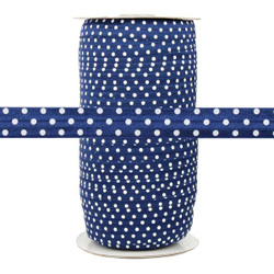 Navy with White Polka Dots Fold Over Elastic 100yd