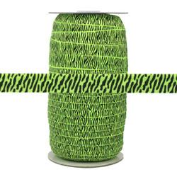 Neon Green Zebra Print Fold Over Elastic 100yd