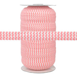Peachy Pink on White Chevron Print Fold Over Elastic 100yd