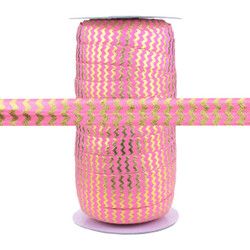 Pink with Gold Metallic Chevron Fold Over Elastic 100yd