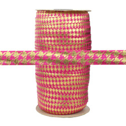 Pink with Gold Metallic Houndstooth Fold Over Elastic 100yd