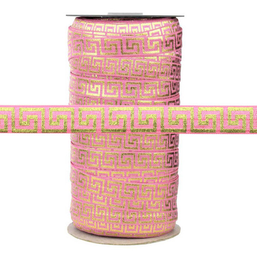 Pink with Gold Metallic Maze Fold Over Elastic 100yd