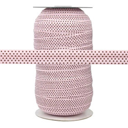 Pink with Small Brown Dots Fold Over Elastic 100yd