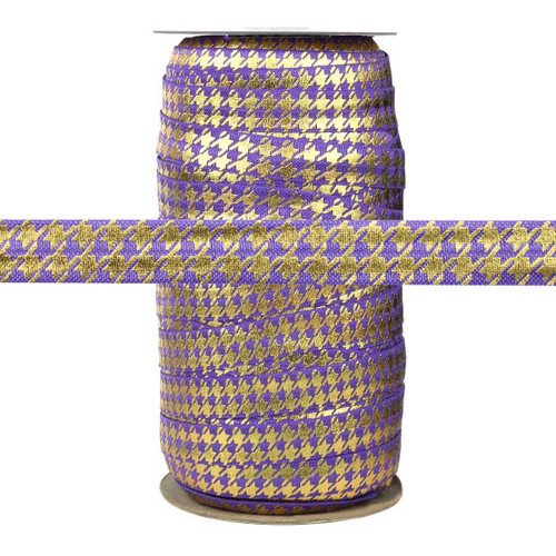 Purple with Gold Metallic Houndstooth Fold Over Elastic 100yd