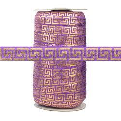 Purple with Gold Metallic Maze Fold Over Elastic 100yd