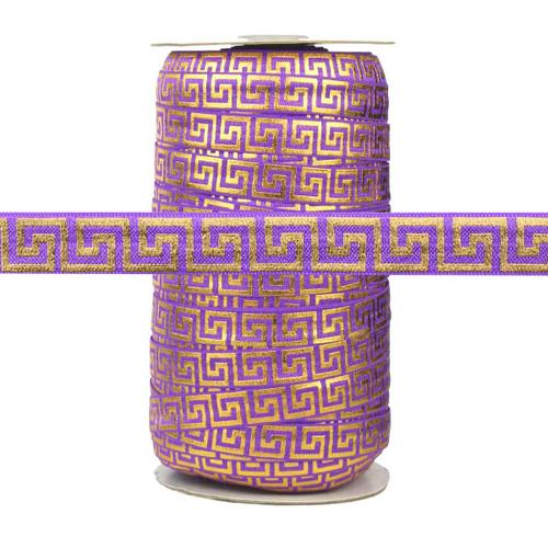 Purple with Gold Metallic Maze Fold Over Elastic 100yd