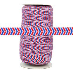 Red & Blue Herringbone Print Fold Over Elastic 100yd