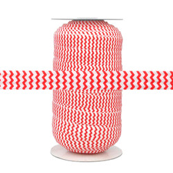 Red Chevron on White Fold Over Elastic 100yd