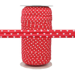 "White Hearts on Red 5/8"" Fold Over Elastic 100yd"