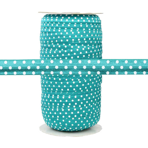 Teal with White Polka Dots Fold Over Elastic 100yd