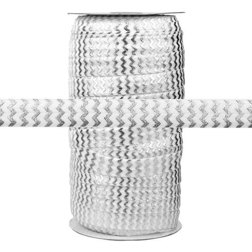 Silver Metallic Chevron on White Fold Over Elastic 100yd