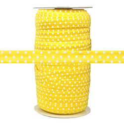 Yellow with White Polka Dots Fold Over Elastic 100yd