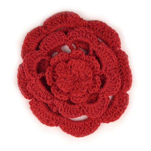 "3"" Four Level Red Crochet Flower"