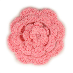 "3"" Four Level Pink Crochet Flower"