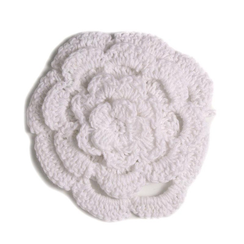 "3"" Four Level White Crochet Flower"