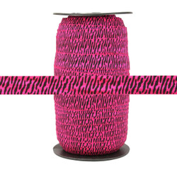 "Hot Pink Zebra Print 5/8"" Fold Over Elastic 100yd"