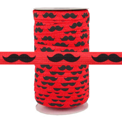 "Black Mustache on Red 5/8"" Fold Over Elastic 100yd"